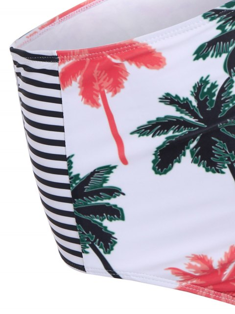 trendy Palm Print Round Neck Bikini Set - WHITE L Mobile
