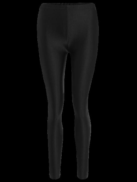 affordable Candy Color Elastic Leggings - BLACK S Mobile