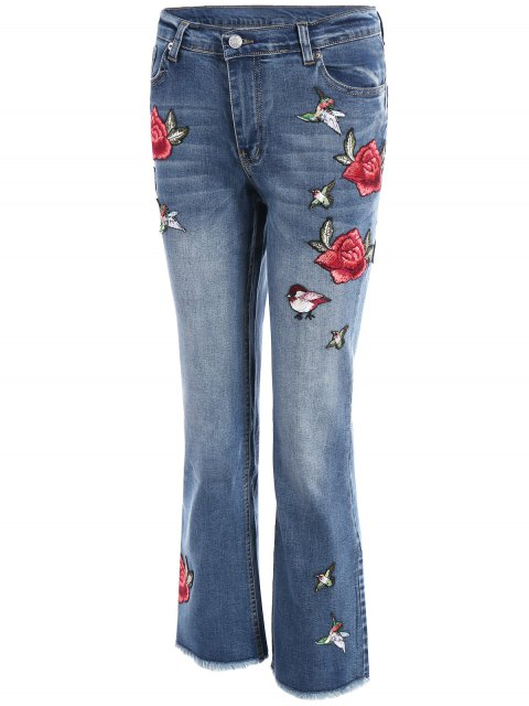 ladies Rose Embroidered Frayed Boot Cut Jean - LIGHT BLUE L Mobile