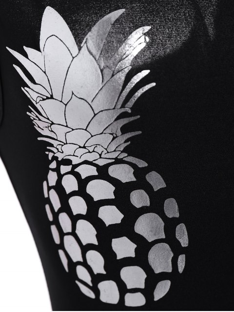 ladies Pineapple Print Bodysuit - BLACK M Mobile