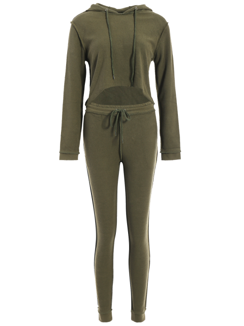 outfits Cropped Hoodie and Drawstring Sports Pants - ARMY GREEN L Mobile