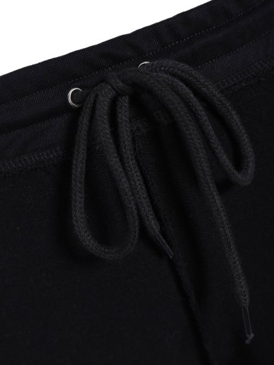 Cropped Hoodie and Drawstring Sports Pants - BLACK M Mobile