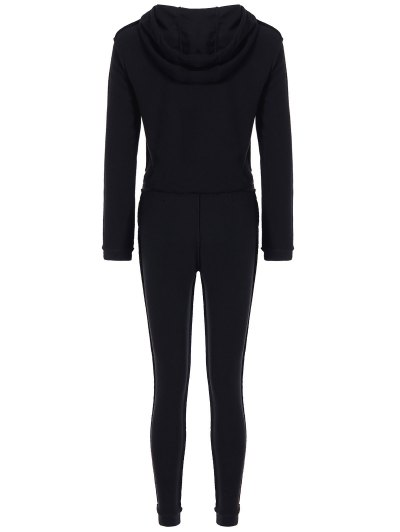 Cropped Hoodie and Drawstring Sports Pants - BLACK S Mobile