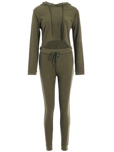 Cropped Hoodie and Drawstring Sports Pants - ARMY GREEN L Mobile