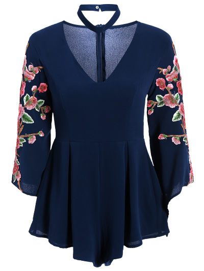 Embroidered Sleeve Choker Romper - CADETBLUE M Mobile