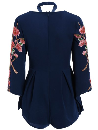 Embroidered Sleeve Choker Romper - CADETBLUE S Mobile