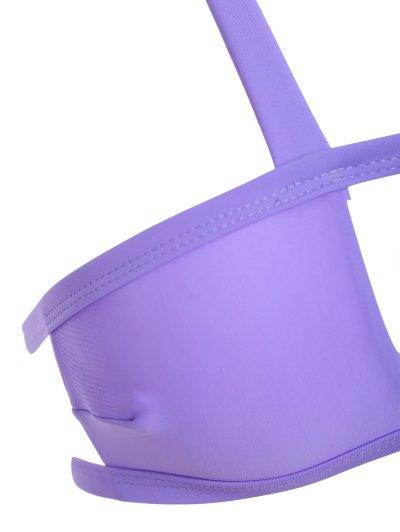 Side Strap Cut Out Halter Bikini - PURPLE S Mobile