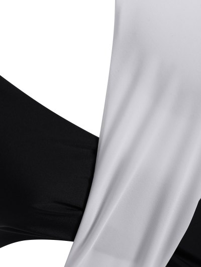 Color Block Criss Cross Swimwear - WHITE AND BLACK XL Mobile