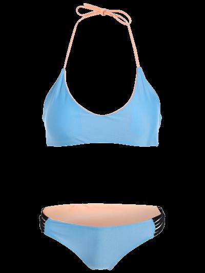 Strappy Color Block Bikini Set - BLUE M Mobile