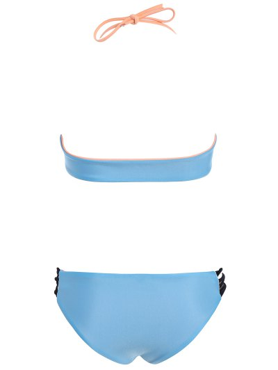 Strappy Color Block Bikini Set - BLUE S Mobile