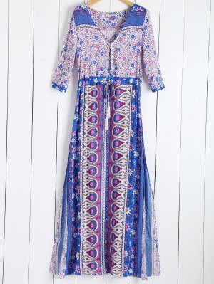 Tiny Floral Printed 3/4 Sleeves Bohemian Dress - Purple
