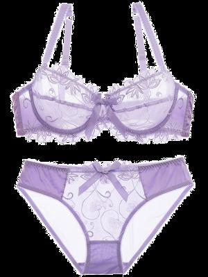 Bowknot See-Through Bra Set - Purple