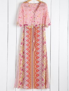 Scoop Collar Tiny Floral Printed 3/4 Sleeve Dress - Pink S