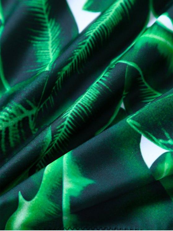 V Plunge Palm Leaf Print Swimsuit - GREEN M Mobile