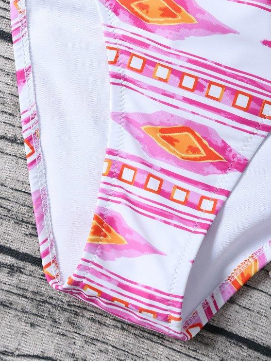 Tie Side High Neck Geo Bikini - PINK AND WHITE XL Mobile
