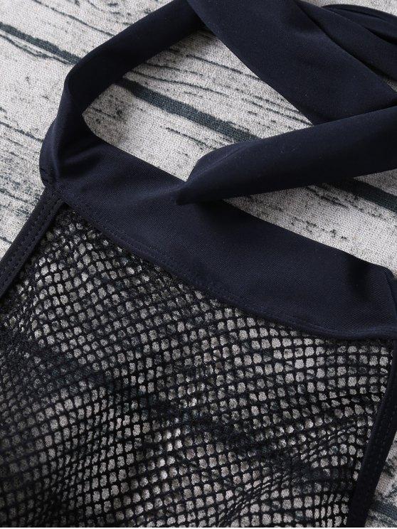 Molded Fishnet Panel Bikini - BLACK M Mobile