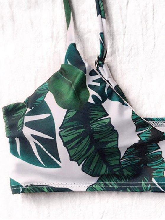 Palm Leaf Side Strap Bkini - WHITE AND GREEN S Mobile