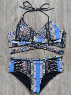 Tied Criss Cross Tribal Print Bikini - Noir M