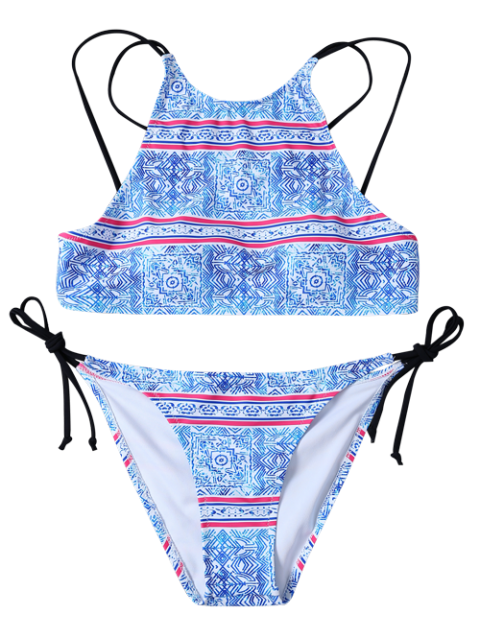 lady Side Tie Printed High Neck Bikini - BLUE AND WHITE M Mobile