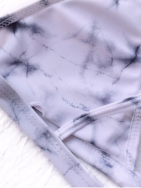 chic Tie Dyed Thong Bikini - GREY AND WHITE M Mobile