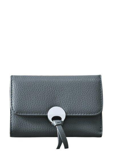 Metal Embellished Tri Fold Samll Wallet - DEEP GRAY  Mobile