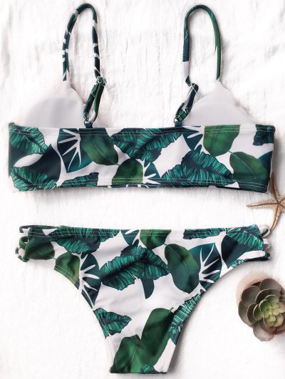 Palm Leaf Side Strap Bkini - WHITE AND GREEN L Mobile
