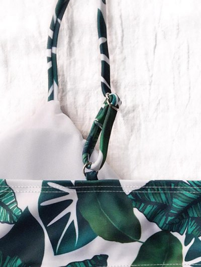 Palm Leaf Side Strap Bkini - WHITE AND GREEN M Mobile