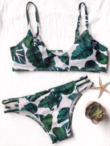 Bikini Imprimé Feuille De Palmier à Bretelles Latérales - Blanc Et Vert