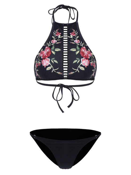 Floral Print Ladder Trim High Neck Bikini - BLACK XL Mobile