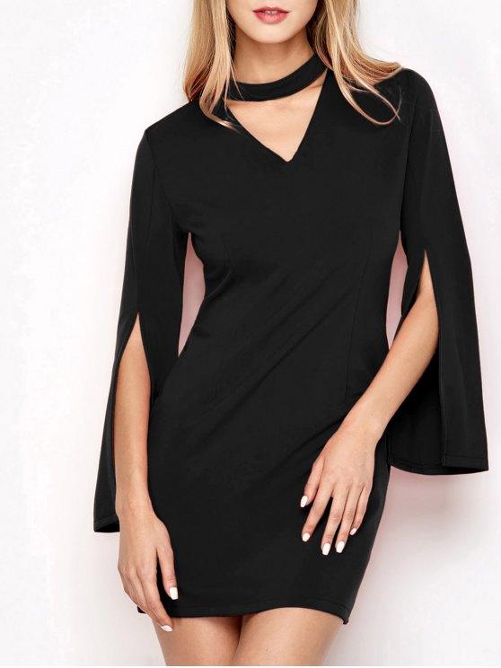 hot Bell Sleeve Choker Bodycon Dress - BLACK L
