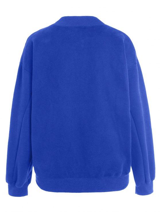 Lettering Fleece Sweatshirt - BLUE ONE SIZE Mobile