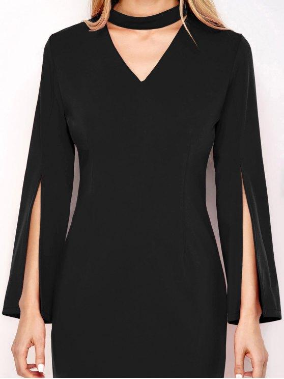 Bell Sleeve Choker Bodycon Dress - BLACK S Mobile