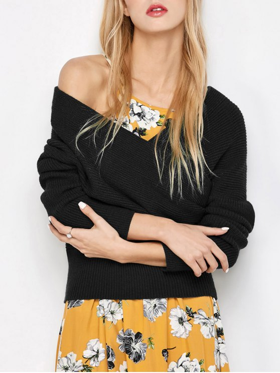 women's Crossover Off The Shoulder Sweater - BLACK ONE SIZE