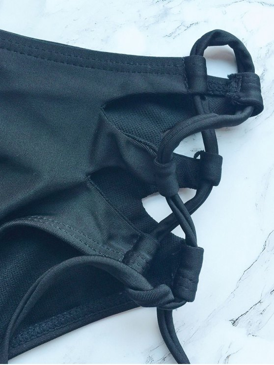 Strappy Halter Zig Zag Bikini - BLACK M Mobile