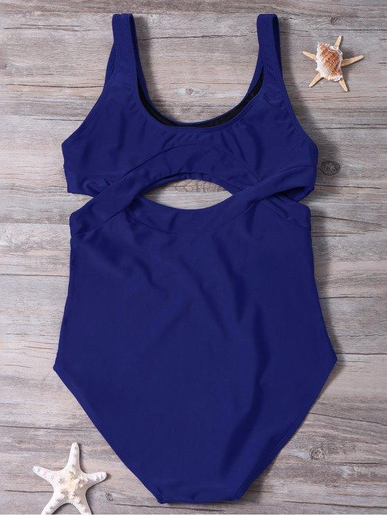 Scoop Neck High Cut One-Piece Swimwear - BLUE XL Mobile