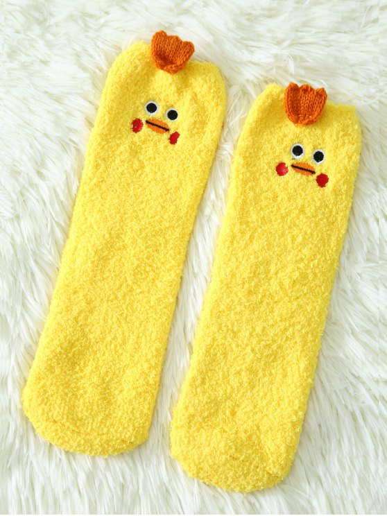 Cartoon Yellow Chicks Coral Fleece Socks - YELLOW  Mobile