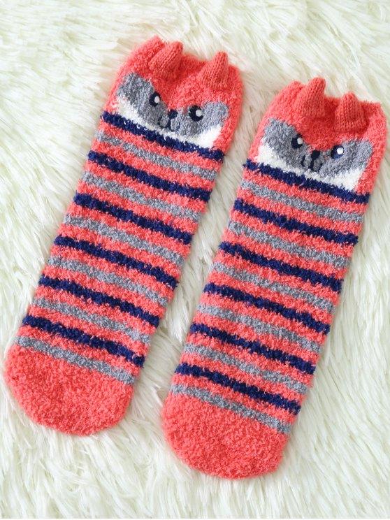 Cartoon Owl Coral Fleece Socks - RED  Mobile