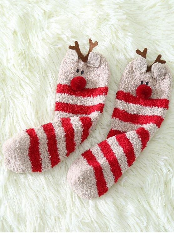 Cartoon Deer Coral Fleece Socks -   Mobile