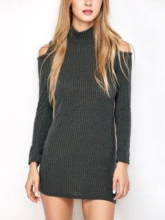 Slinky Côtelé Cold Shoulder Mini-robe - Gris Foncé S