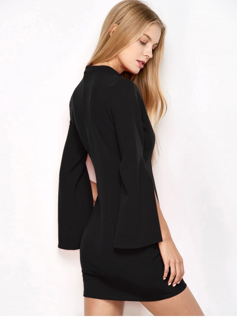 outfits Bell Sleeve Choker Bodycon Dress - BLACK S Mobile