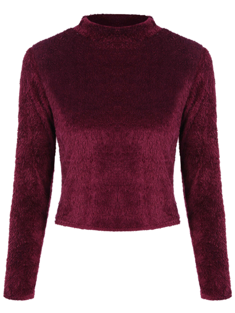 affordable High Neck Fuzzy Cropped T-Shirt - WINE RED S Mobile