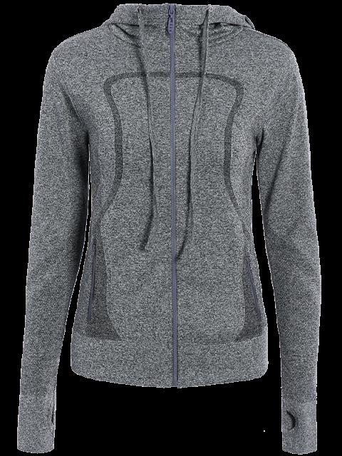 shop Hooded Zip Running Jacket - GRAY M Mobile