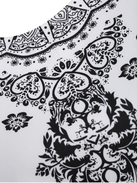 online Short Sleeve Crop Top + Porcelain Print Shorts Twinset - BLACK XS Mobile