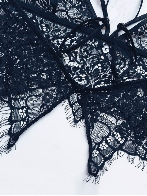 sale Strappy Sheer Lace Bra - BLACK XL Mobile