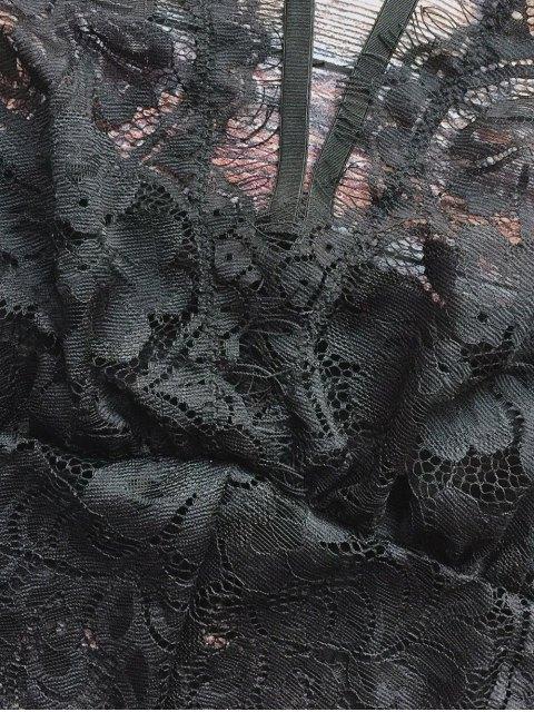 sale Lace Panel See-Through Teddies - BLACK XL Mobile