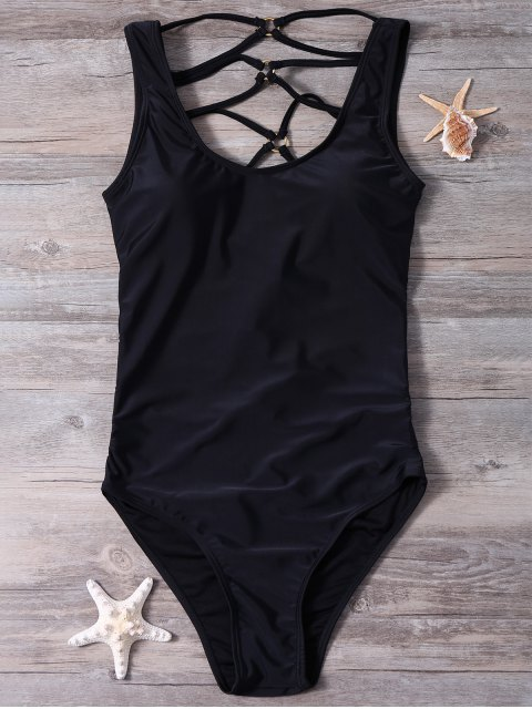 shops Strappy Cut Out Sexy One Piece Bathing Suit - BLACK XL Mobile
