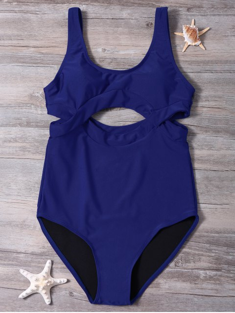 ladies Scoop Neck High Cut One-Piece Swimwear - BLUE XL Mobile