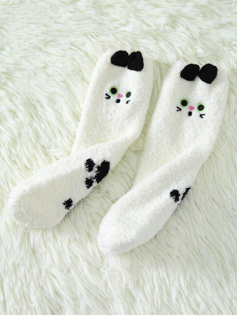 shops Cartoon Cat Coral Fleece Socks - WHITE  Mobile