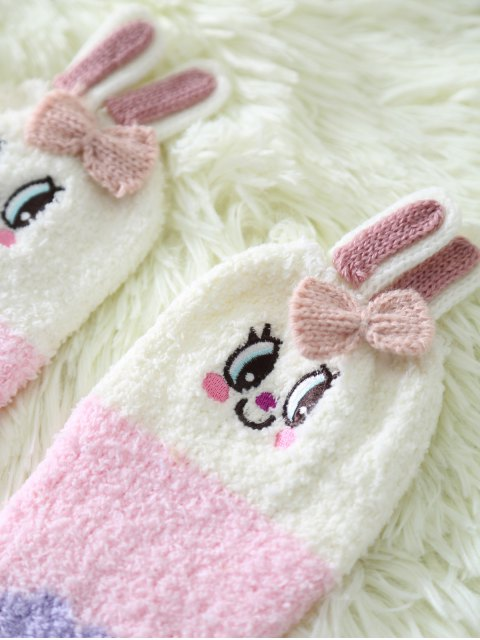 trendy Cartoon Pink Bunny Coral Fleece Socks - PINK  Mobile