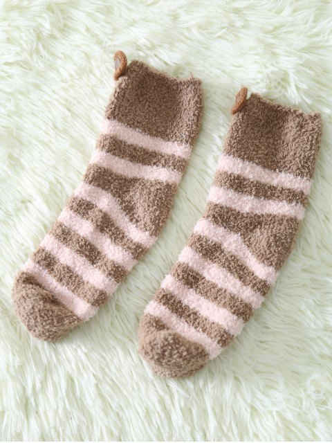 fashion Cartoon Teeth Rat Coral Fleece Socks - DARK KHAKI  Mobile